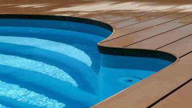 Einwood composite wood decking at swimming pool