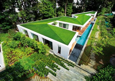 ZigZag House in Singapore with Artificial Grass Rooftop